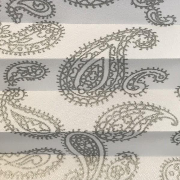 Plissee Interieur Print Weiß Silber