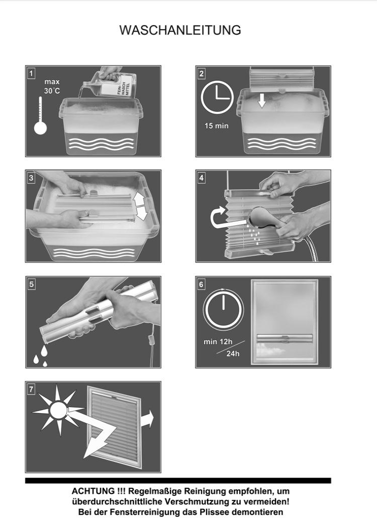 Waschanleitung-Plissee