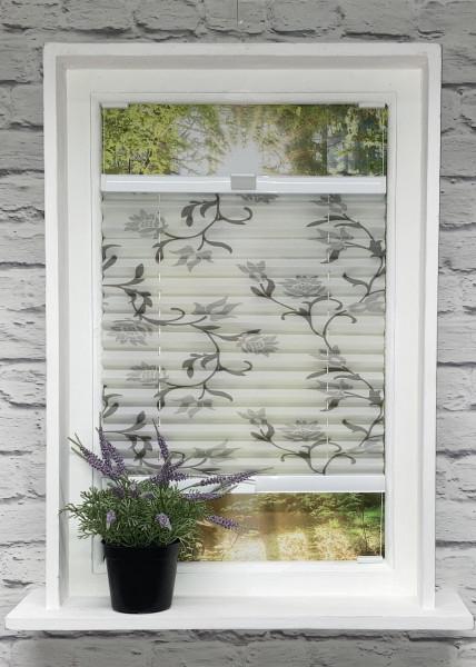 Plissee Flowers Metallic Weiß